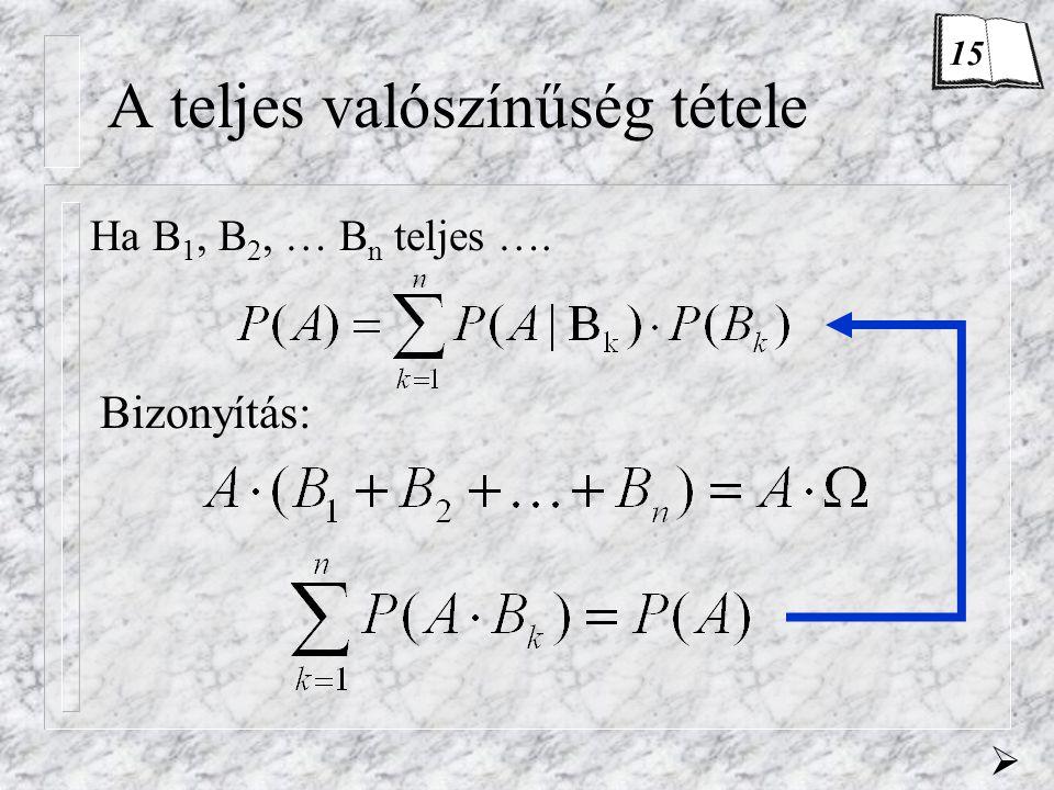 A teljes valószínűség tétele Ha B 1, B 2, … B n teljes …. Bizonyítás:  15
