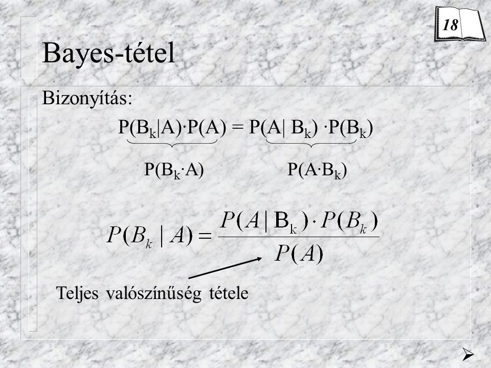 Bayes-tétel Bizonyítás: P(B k |A)·P(A) = P(A| B k ) ·P(B k ) P(B k ·A)P(A·B k ) Teljes valószínűség tétele  18