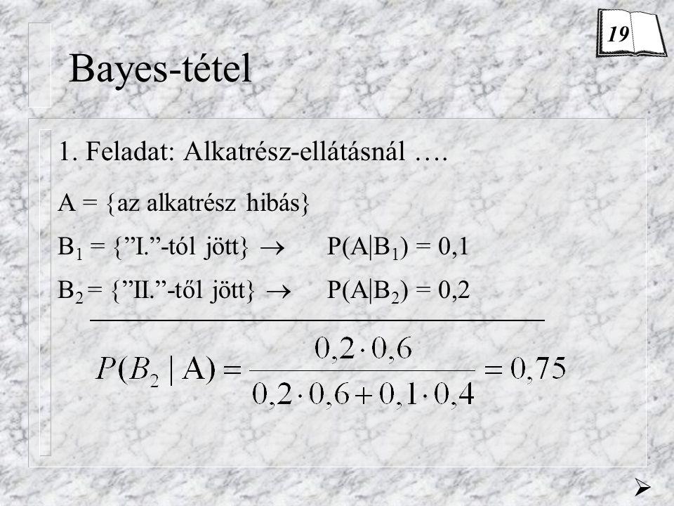 """Bayes-tétel 1. Feladat: Alkatrész-ellátásnál …. A =  az alkatrész hibás} B 1 =  """"I.""""-tól jött}  P(A   B 1 ) = 0,1 B 2 =  """"II.""""-től jött}  P(A   B"""