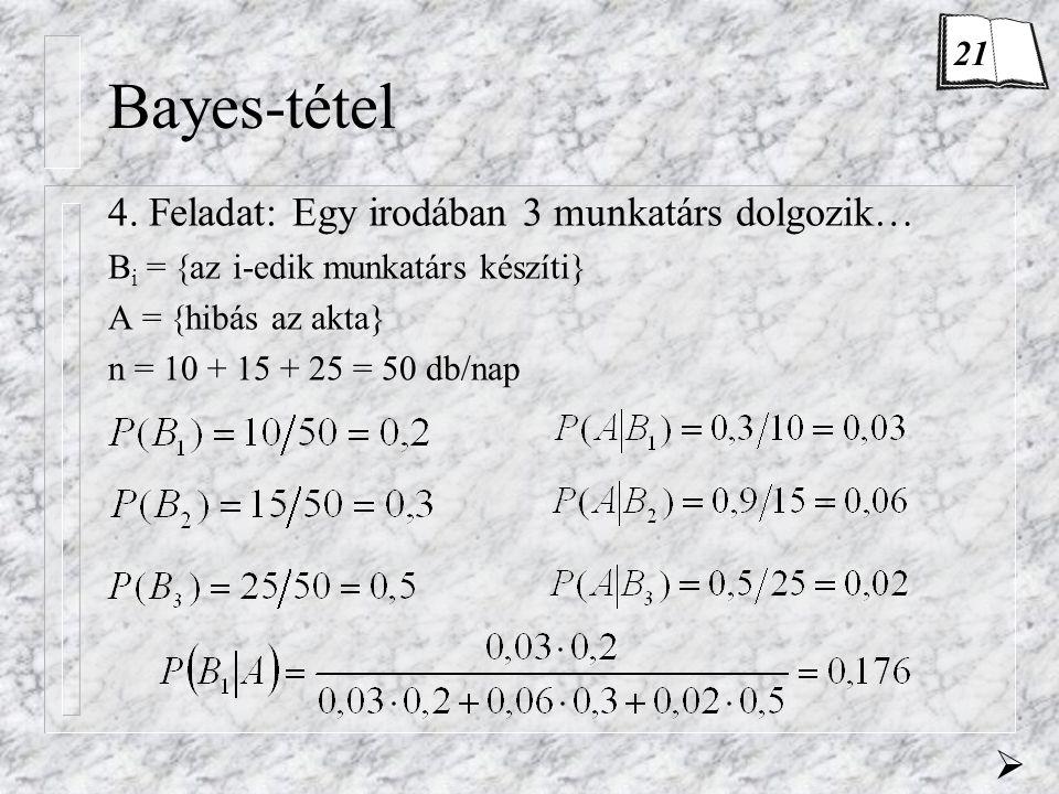 Bayes-tétel 4. Feladat: Egy irodában 3 munkatárs dolgozik… B i =  az i-edik munkatárs készíti} A =  hibás az akta} n = 10 + 15 + 25 = 50 db/nap  21