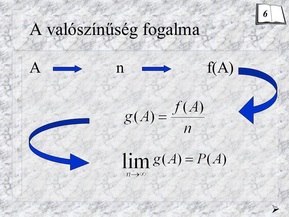 Az axiómarendszer 1.axióma0  P(A) 2. axiómaP(  ) = 1 3.