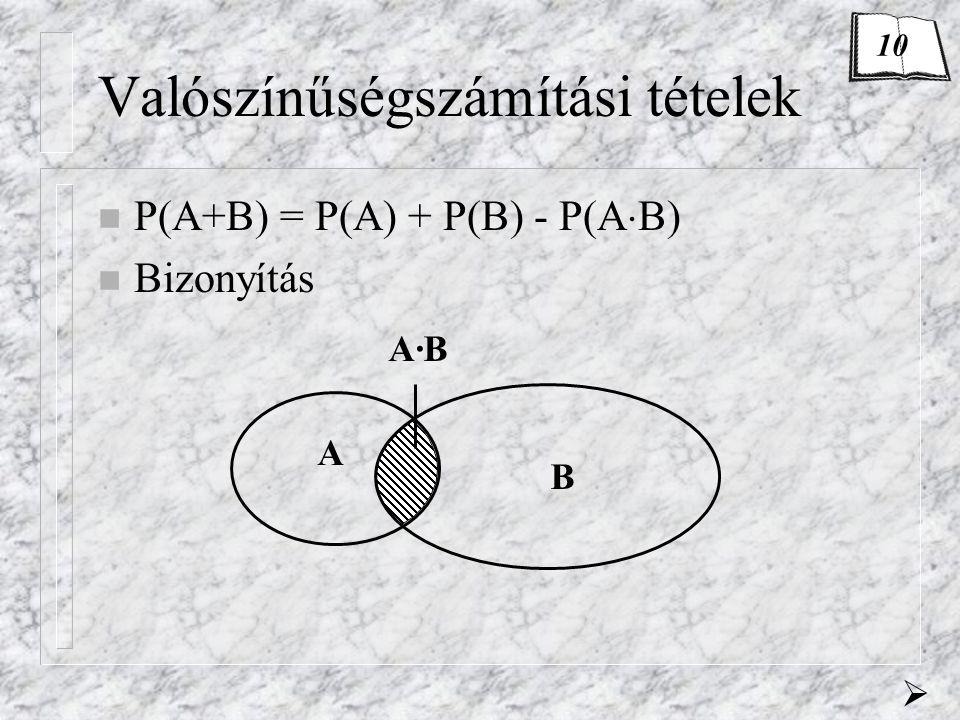 Valószínűségszámítási tételek n P(A+B) = P(A) + P(B) - P(A  B) n Bizonyítás A B A·B  10