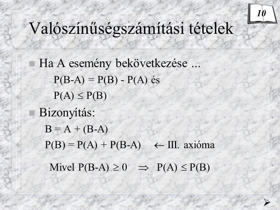 Valószínűségszámítási tételek n Ha A esemény bekövetkezése... – P(B-A) = P(B) - P(A) és – P(A)  P(B) n Bizonyítás: B = A + (B-A) P(B) = P(A) + P(B-A)