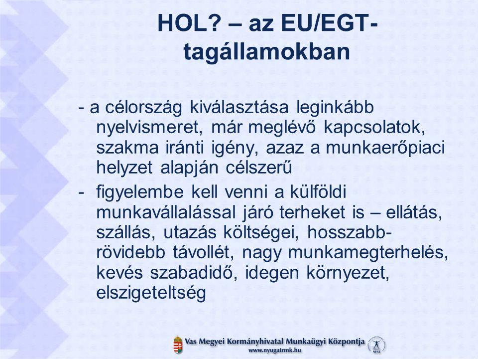 HOL? – az EU/EGT- tagállamokban - a célország kiválasztása leginkább nyelvismeret, már meglévő kapcsolatok, szakma iránti igény, azaz a munkaerőpiaci