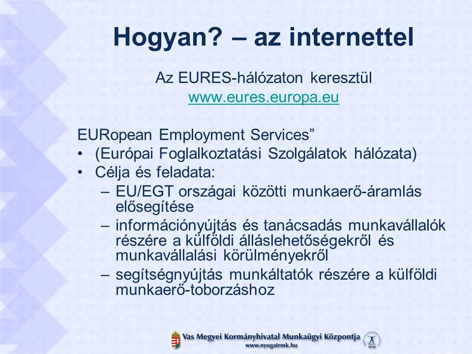 """Hogyan? – az internettel Az EURES-hálózaton keresztül www.eures.europa.eu EURopean Employment Services"""" (Európai Foglalkoztatási Szolgálatok hálózata)"""
