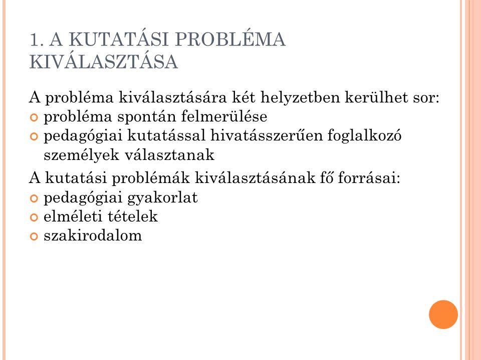 1. A KUTATÁSI PROBLÉMA KIVÁLASZTÁSA A probléma kiválasztására két helyzetben kerülhet sor: probléma spontán felmerülése pedagógiai kutatással hivatáss