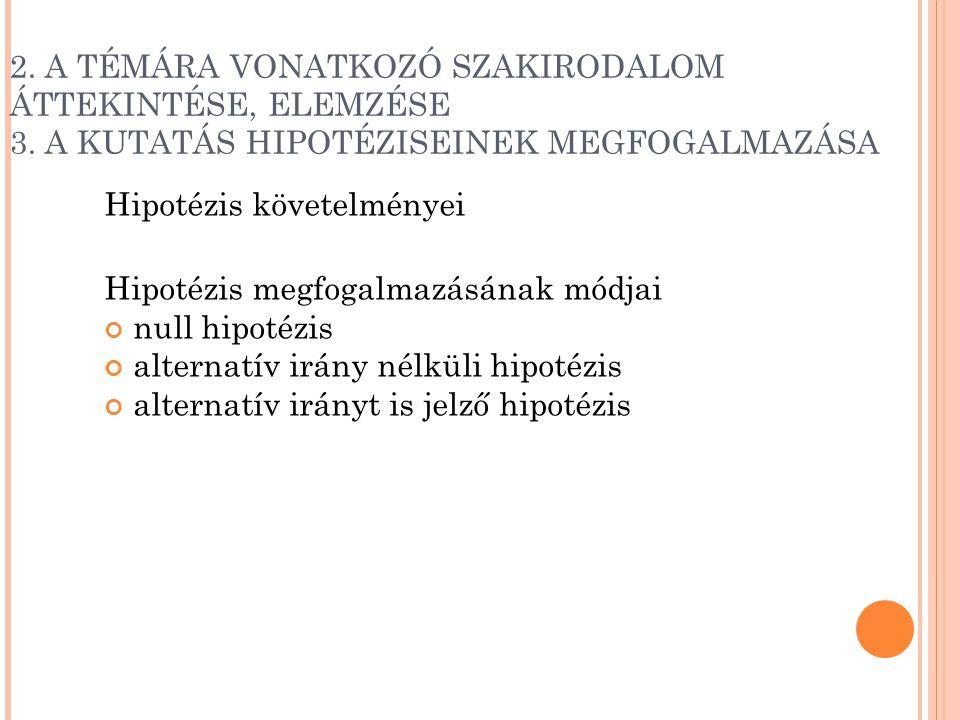 2. A TÉMÁRA VONATKOZÓ SZAKIRODALOM ÁTTEKINTÉSE, ELEMZÉSE 3. A KUTATÁS HIPOTÉZISEINEK MEGFOGALMAZÁSA Hipotézis követelményei Hipotézis megfogalmazásána