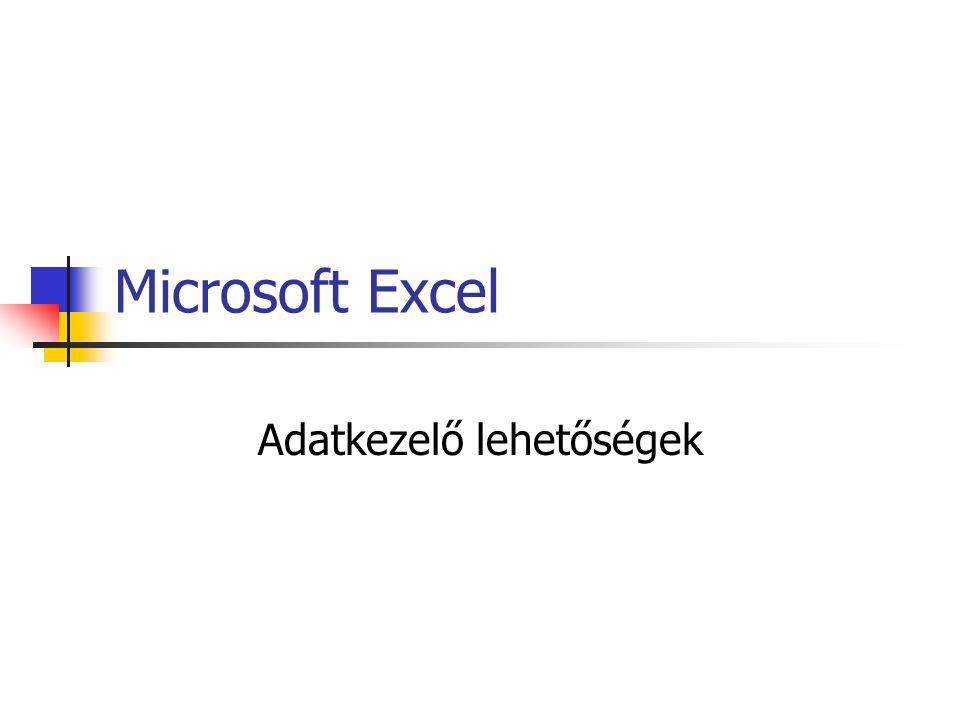 Microsoft Excel Adatkezelő lehetőségek