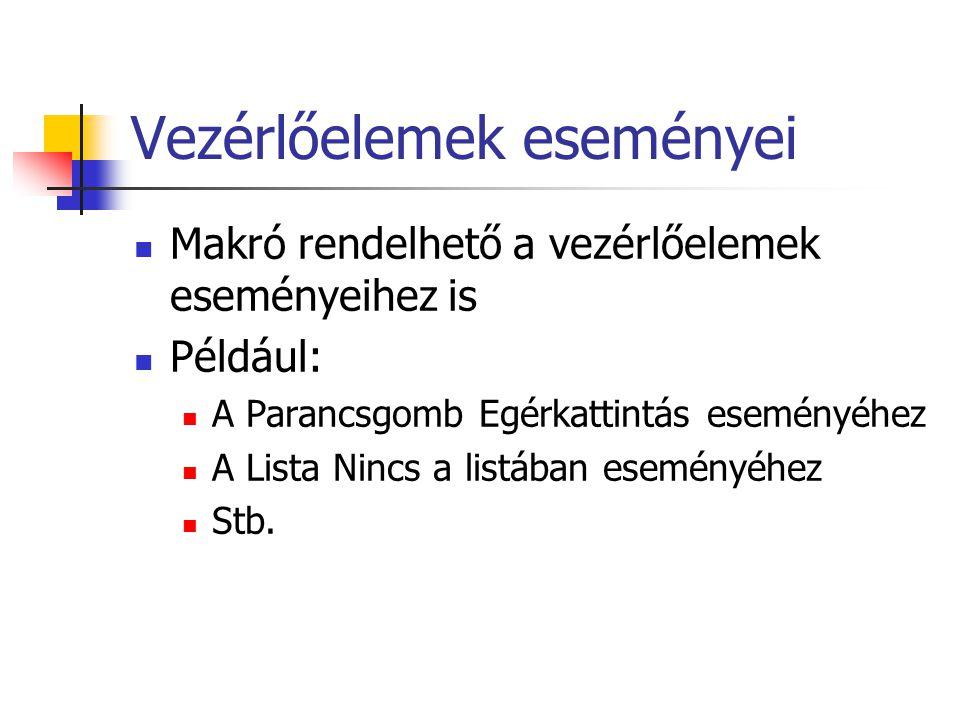 Vezérlőelemek eseményei Makró rendelhető a vezérlőelemek eseményeihez is Például: A Parancsgomb Egérkattintás eseményéhez A Lista Nincs a listában ese