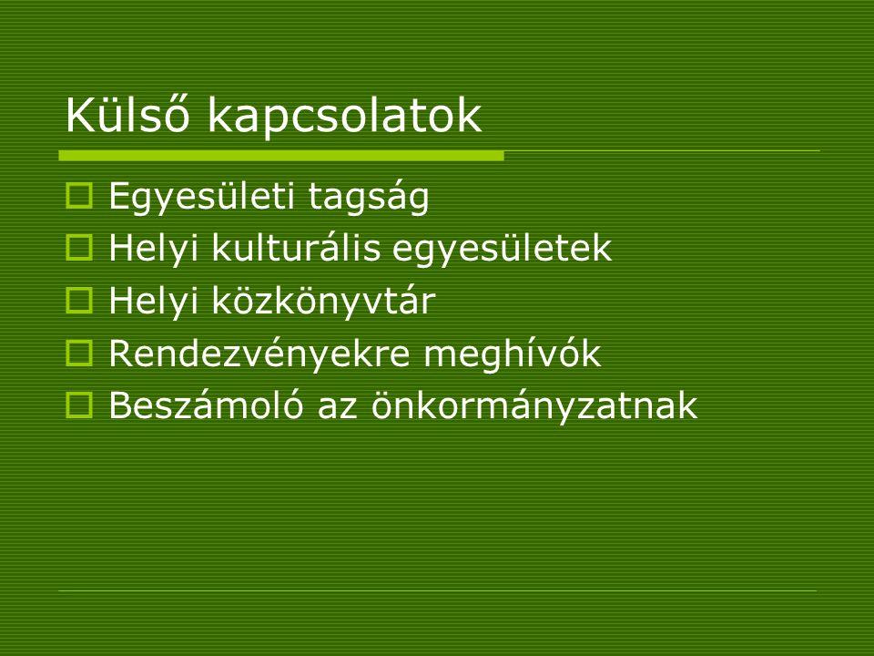 Külső kapcsolatok  Egyesületi tagság  Helyi kulturális egyesületek  Helyi közkönyvtár  Rendezvényekre meghívók  Beszámoló az önkormányzatnak