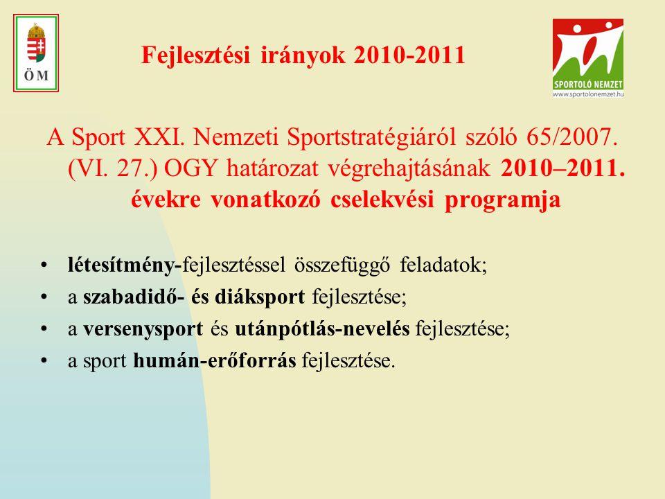 Fejlesztési irányok 2010-2011 A Sport XXI.Nemzeti Sportstratégiáról szóló 65/2007.