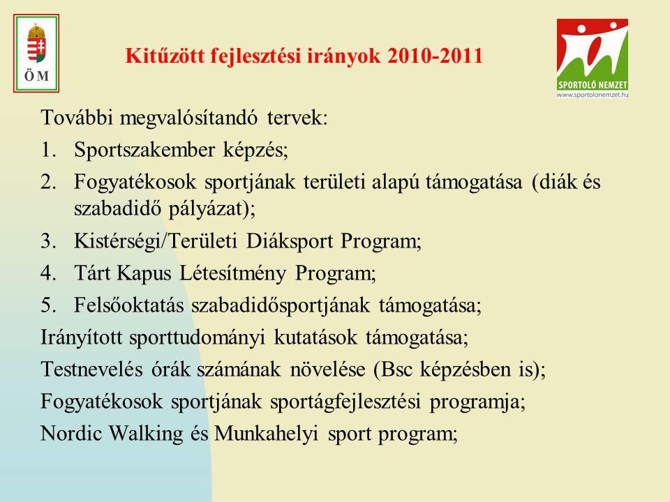 Kitűzött fejlesztési irányok 2010-2011 További megvalósítandó tervek: 1.Sportszakember képzés; 2.Fogyatékosok sportjának területi alapú támogatása (diák és szabadidő pályázat); 3.Kistérségi/Területi Diáksport Program; 4.Tárt Kapus Létesítmény Program; 5.Felsőoktatás szabadidősportjának támogatása; Irányított sporttudományi kutatások támogatása; Testnevelés órák számának növelése (Bsc képzésben is); Fogyatékosok sportjának sportágfejlesztési programja; Nordic Walking és Munkahelyi sport program;