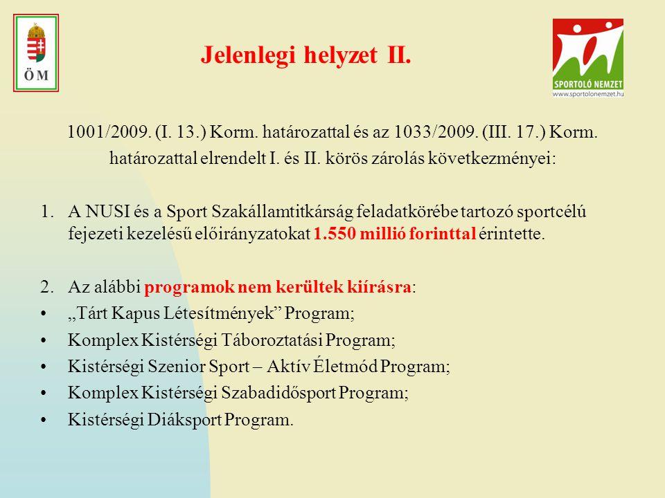 Jelenlegi helyzet II.1001/2009. (I. 13.) Korm. határozattal és az 1033/2009.