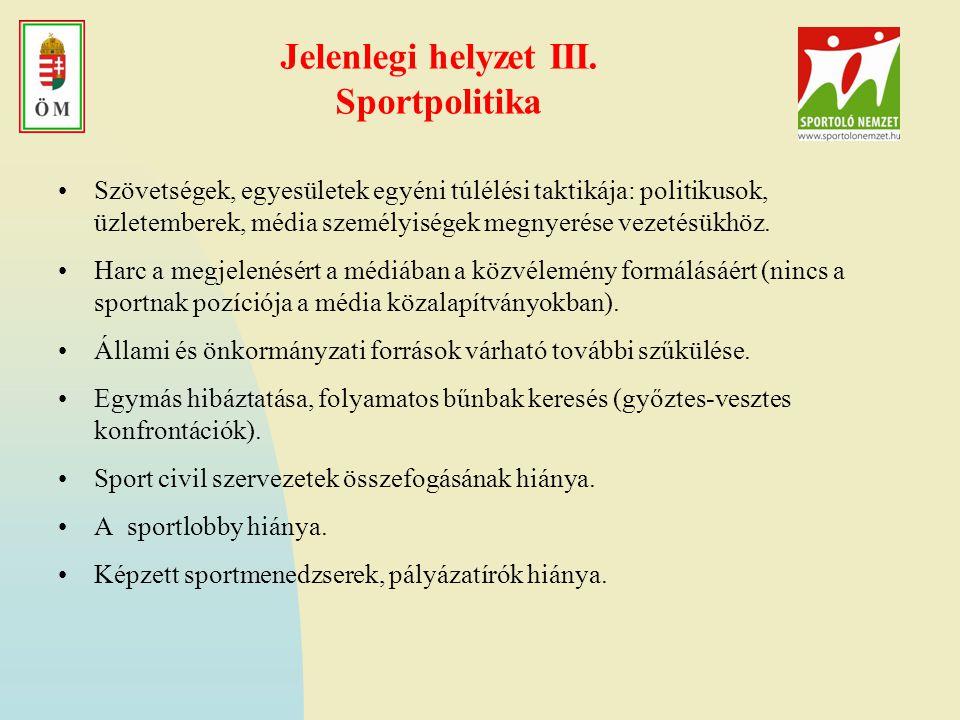 Szabadidősport fejlesztési lehetőségei 2009-ben 5.Támogatható tevékenységek köre: Kistérségi és települési egészségtervek cselekvési programjainak támogatása; Országos, regionális, kistérségi programok kidolgozása és megvalósítása, különös tekintettel az egészség megőrzését, fejlesztését meghatározó életmódbeli tényezőkre (mozgás, táplálkozás, lelki egészség, káros szenvedélyek); Munkahelyi egészségfejlesztési programok, munkahelyi egészségtervek támogatása; Bölcsődei-, óvodai, iskolai teljes körű egészségfejlesztési programok; A célcsoportok fizikai aktivitásának javítását célzó és a mozgás-gazdag életmódot ösztönző szabadidős programok; Energiaegyensúly (táplálkozás és mozgás együttes alkalmazása) megtartására és visszaállítására irányuló tevékenységek, stb.