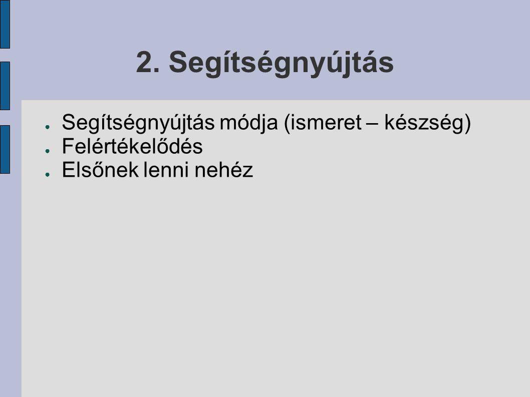 2. Segítségnyújtás ● Segítségnyújtás módja (ismeret – készség) ● Felértékelődés ● Elsőnek lenni nehéz