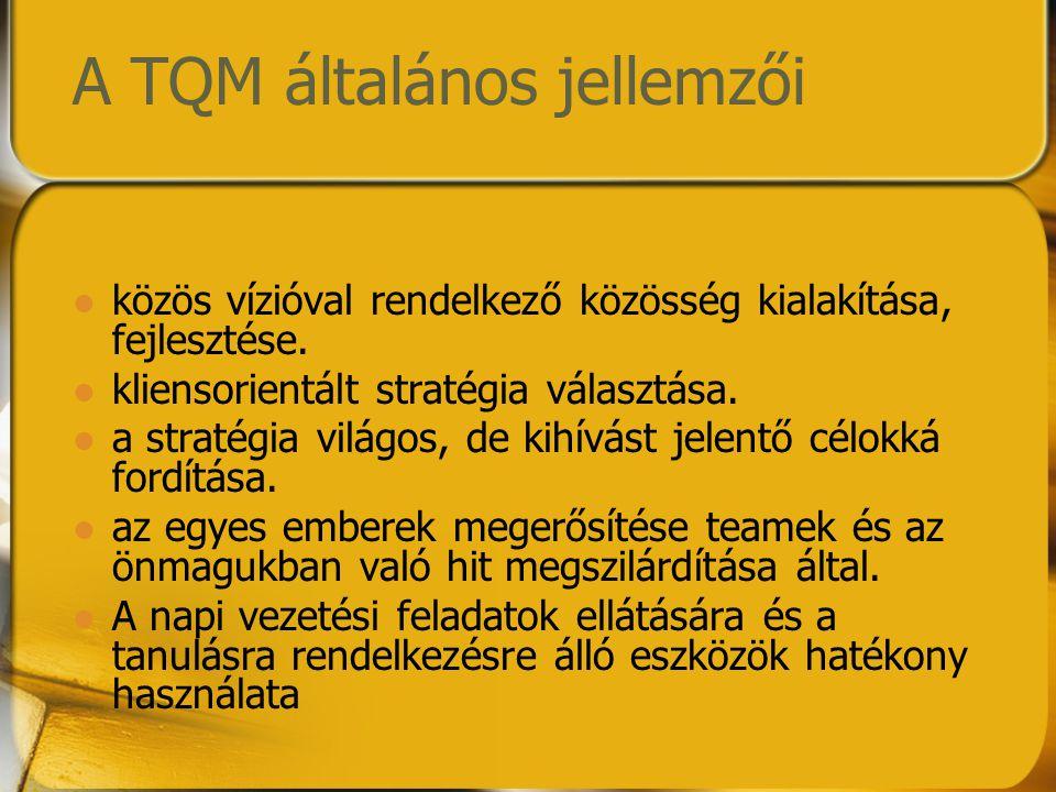 A TQM általános jellemzői közös vízióval rendelkező közösség kialakítása, fejlesztése. kliensorientált stratégia választása. a stratégia világos, de k