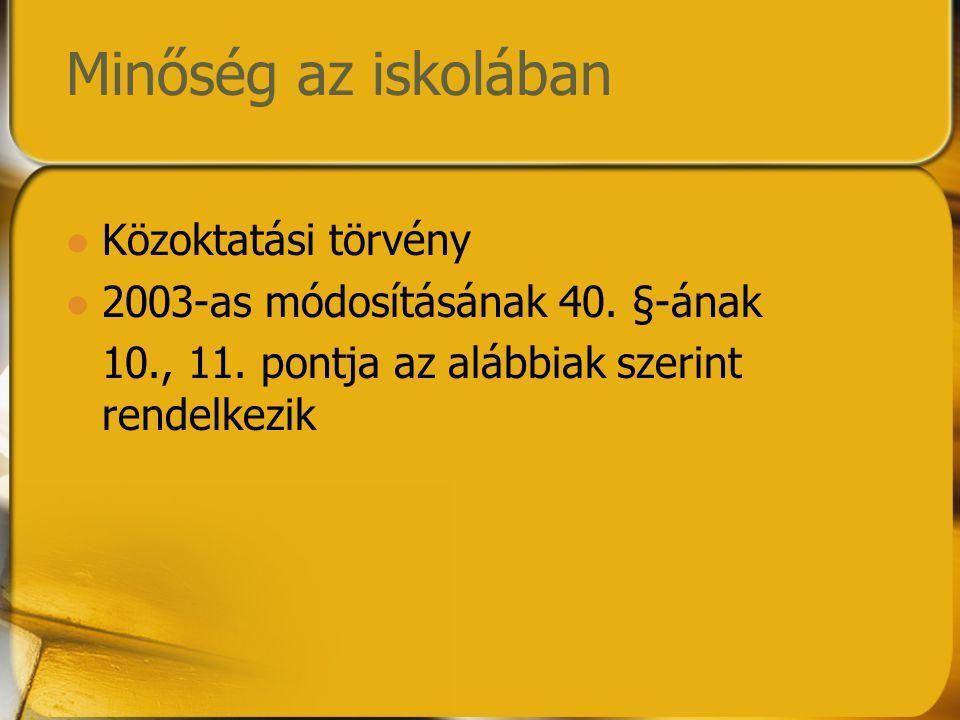 Minőség az iskolában Közoktatási törvény 2003-as módosításának 40. §-ának 10., 11. pontja az alábbiak szerint rendelkezik
