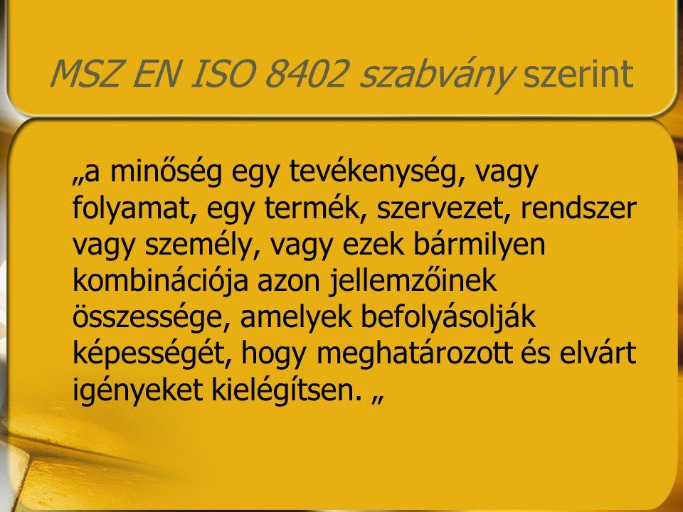 """MSZ EN ISO 8402 szabvány szerint """"a minőség egy tevékenység, vagy folyamat, egy termék, szervezet, rendszer vagy személy, vagy ezek bármilyen kombinác"""