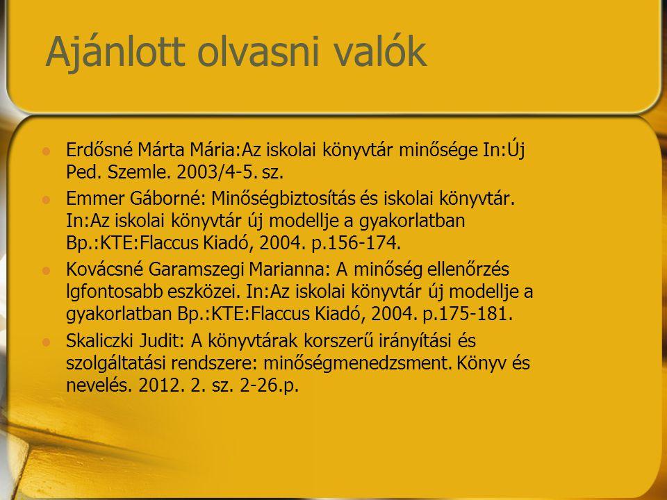Ajánlott olvasni valók Erdősné Márta Mária:Az iskolai könyvtár minősége In:Új Ped. Szemle. 2003/4-5. sz. Emmer Gáborné: Minőségbiztosítás és iskolai k