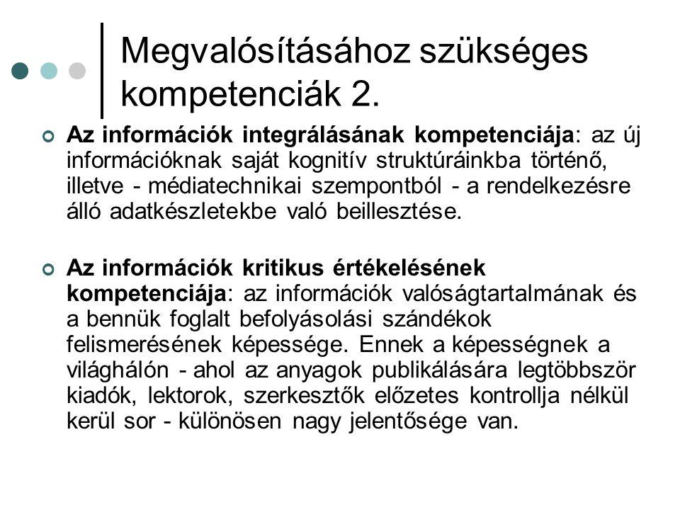 Megvalósításához szükséges kompetenciák 2. Az információk integrálásának kompetenciája: az új információknak saját kognitív struktúráinkba történő, il
