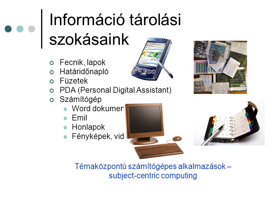 Információ tárolási szokásaink Fecnik, lapok Határidőnapló Füzetek PDA (Personal Digital Assistant) Számítógép Word dokumentumok Emil Honlapok Fénykép