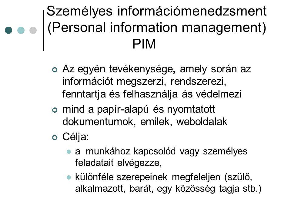Személyes információmenedzsment (Personal information management) PIM Az egyén tevékenysége, amely során az információt megszerzi, rendszerezi, fennta