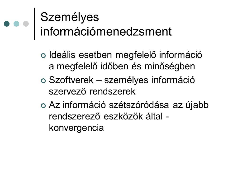 Személyes információmenedzsment Ideális esetben megfelelő információ a megfelelő időben és minőségben Szoftverek – személyes információ szervező rends