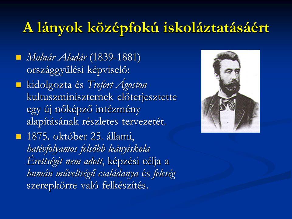 A lányok középfokú iskoláztatásáért Molnár Aladár (1839-1881) országgyűlési képviselő: Molnár Aladár (1839-1881) országgyűlési képviselő: kidolgozta é