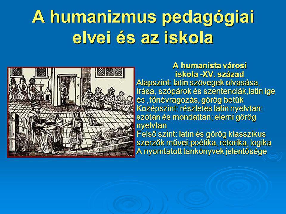 A humanizmus pedagógiai elvei és az iskola A humanista városi iskola -XV.