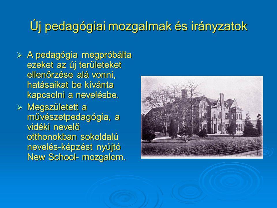 Új pedagógiai mozgalmak és irányzatok  A pedagógia megpróbálta ezeket az új területeket ellenőrzése alá vonni, hatásaikat be kívánta kapcsolni a nevelésbe.