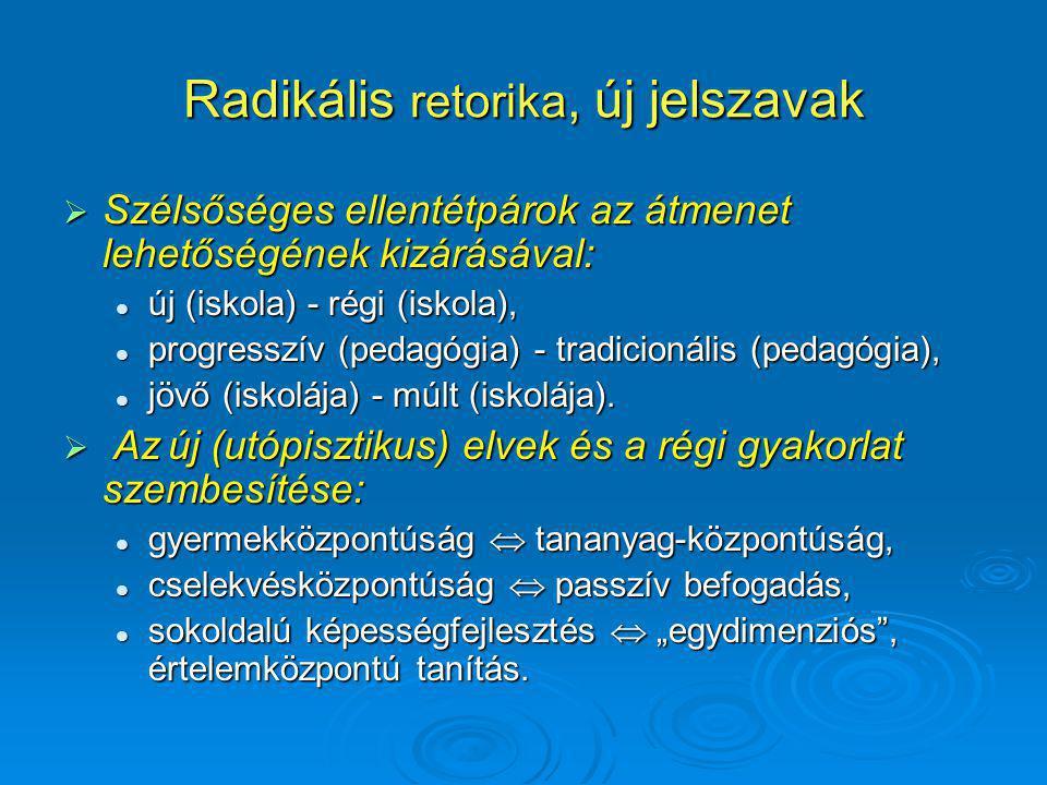 Radikális retorika, új jelszavak  Szélsőséges ellentétpárok az átmenet lehetőségének kizárásával: új (iskola) - régi (iskola), új (iskola) - régi (iskola), progresszív (pedagógia) - tradicionális (pedagógia), progresszív (pedagógia) - tradicionális (pedagógia), jövő (iskolája) - múlt (iskolája).