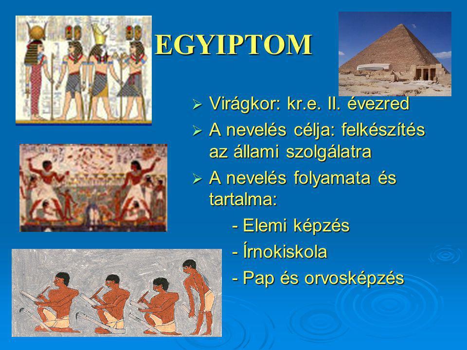 EGYIPTOM  Virágkor: kr.e.II.