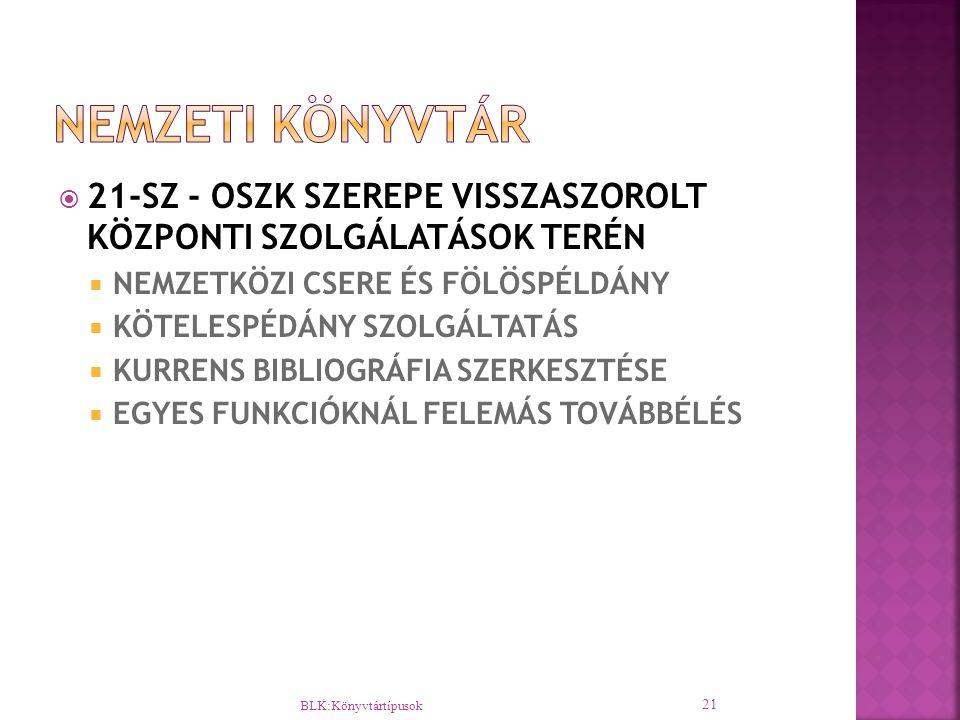  21-SZ - OSZK SZEREPE VISSZASZOROLT KÖZPONTI SZOLGÁLATÁSOK TERÉN  NEMZETKÖZI CSERE ÉS FÖLÖSPÉLDÁNY  KÖTELESPÉDÁNY SZOLGÁLTATÁS  KURRENS BIBLIOGRÁF