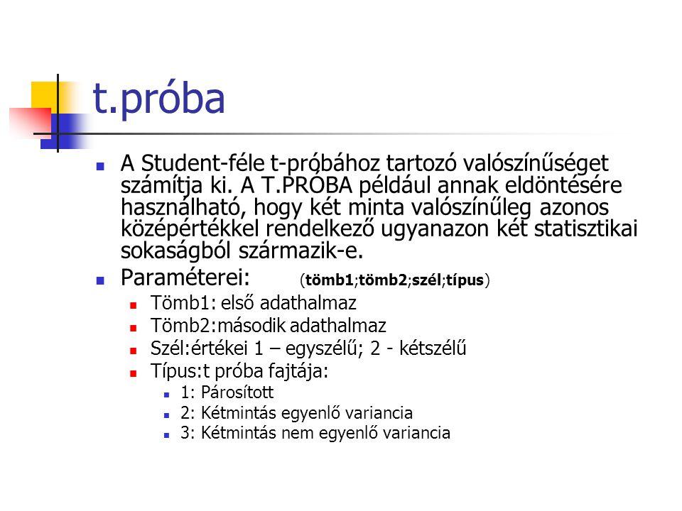 t.próba A Student-féle t-próbához tartozó valószínűséget számítja ki.