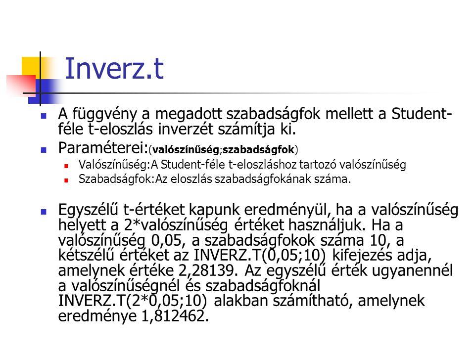 Inverz.t A függvény a megadott szabadságfok mellett a Student- féle t-eloszlás inverzét számítja ki.