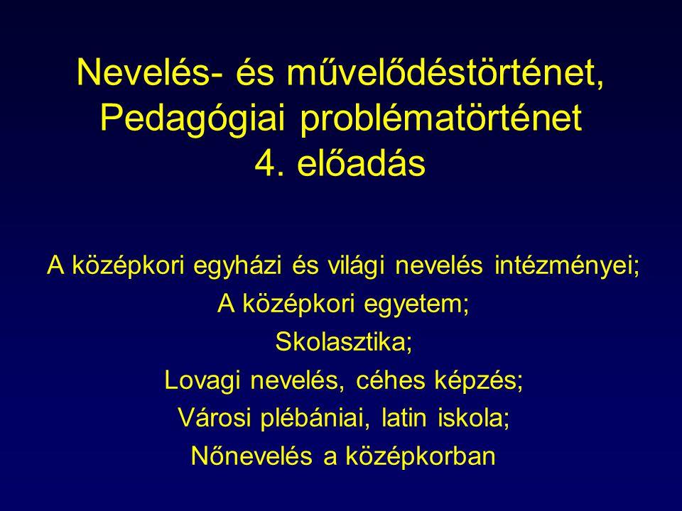 Nevelés- és művelődéstörténet, Pedagógiai problématörténet 4. előadás A középkori egyházi és világi nevelés intézményei; A középkori egyetem; Skolaszt