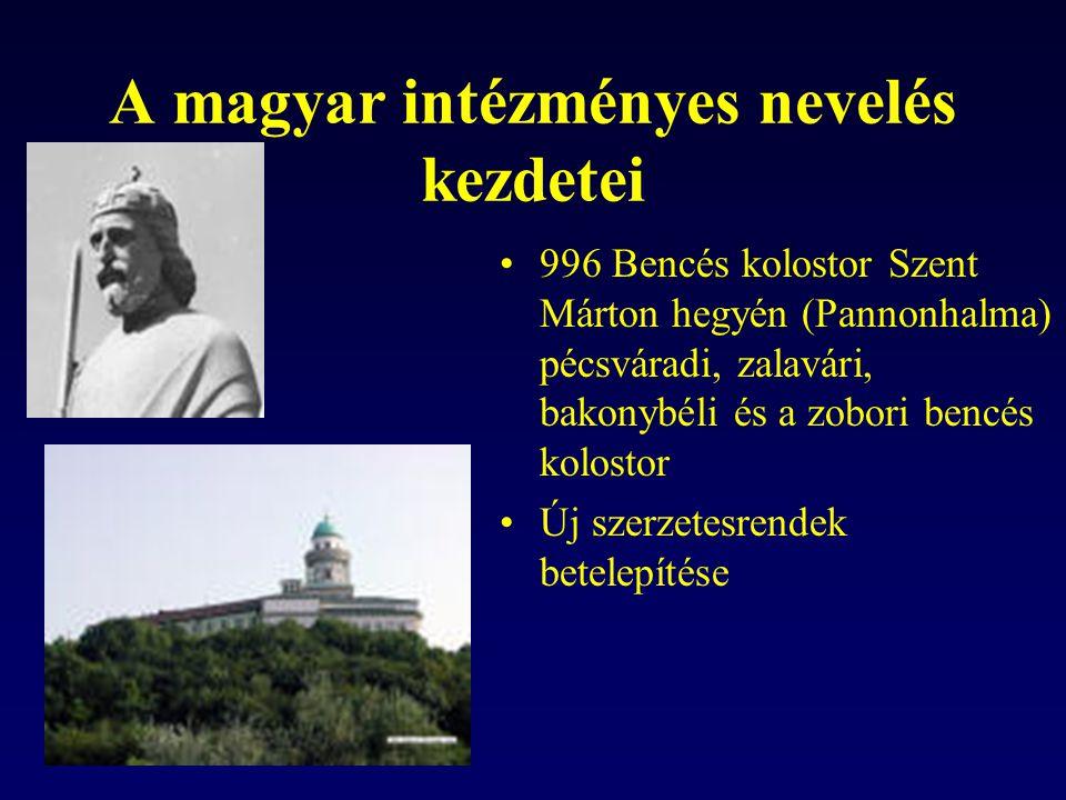 A magyar intézményes nevelés kezdetei 996 Bencés kolostor Szent Márton hegyén (Pannonhalma) pécsváradi, zalavári, bakonybéli és a zobori bencés kolost