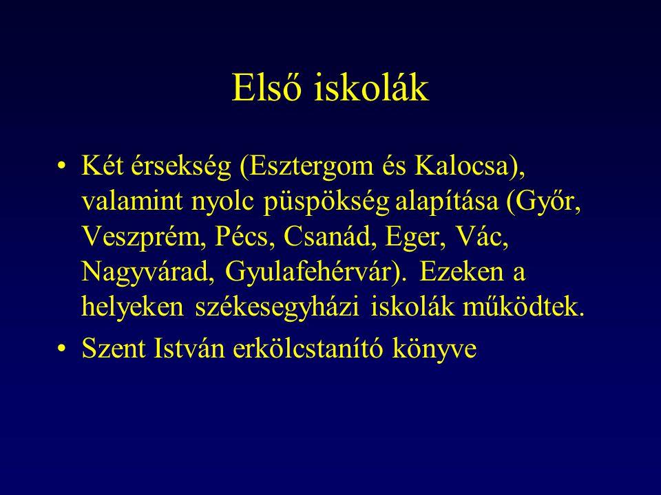 Első iskolák Két érsekség (Esztergom és Kalocsa), valamint nyolc püspökség alapítása (Győr, Veszprém, Pécs, Csanád, Eger, Vác, Nagyvárad, Gyulafehérvá