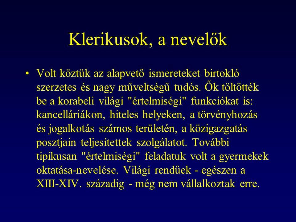 Klerikusok, a nevelők Volt köztük az alapvető ismereteket birtokló szerzetes és nagy műveltségű tudós. Ők töltötték be a korabeli világi