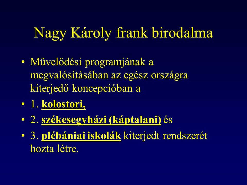 Nagy Károly frank birodalma Művelődési programjának a megvalósításában az egész országra kiterjedő koncepcióban a 1. kolostori, 2. székesegyházi (kápt
