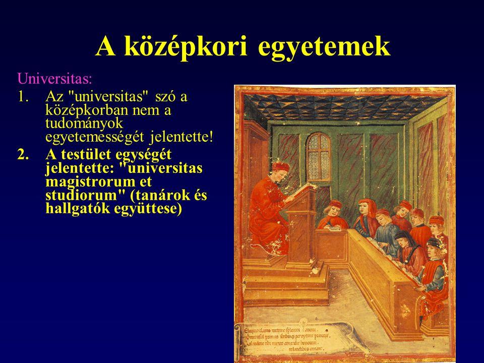 A középkori egyetemek Universitas: 1.Az