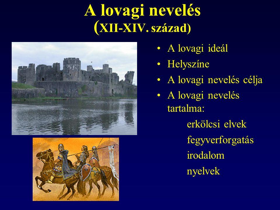 A lovagi nevelés ( XII-XIV. század) A lovagi ideál Helyszíne A lovagi nevelés célja A lovagi nevelés tartalma: erkölcsi elvek fegyverforgatás irodalom