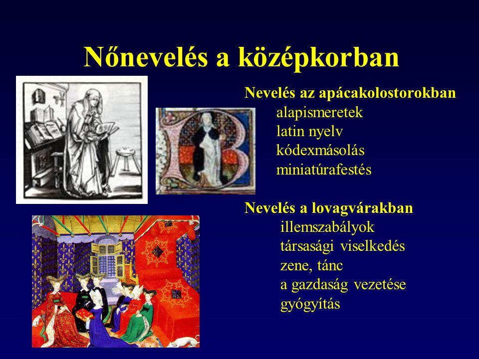 Nőnevelés a középkorban Nevelés az apácakolostorokban alapismeretek latin nyelv kódexmásolás miniatúrafestés Nevelés a lovagvárakban illemszabályok tá