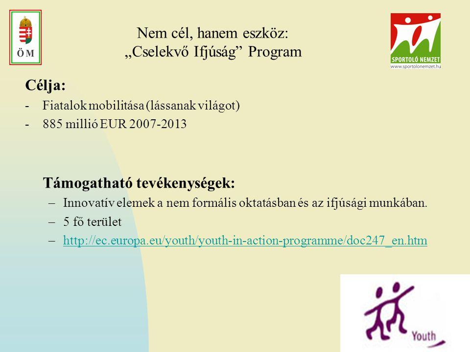 """Nem cél, hanem eszköz: """"Cselekvő Ifjúság Program Célja: -Fiatalok mobilitása (lássanak világot) -885 millió EUR 2007-2013 Támogatható tevékenységek: –Innovatív elemek a nem formális oktatásban és az ifjúsági munkában."""