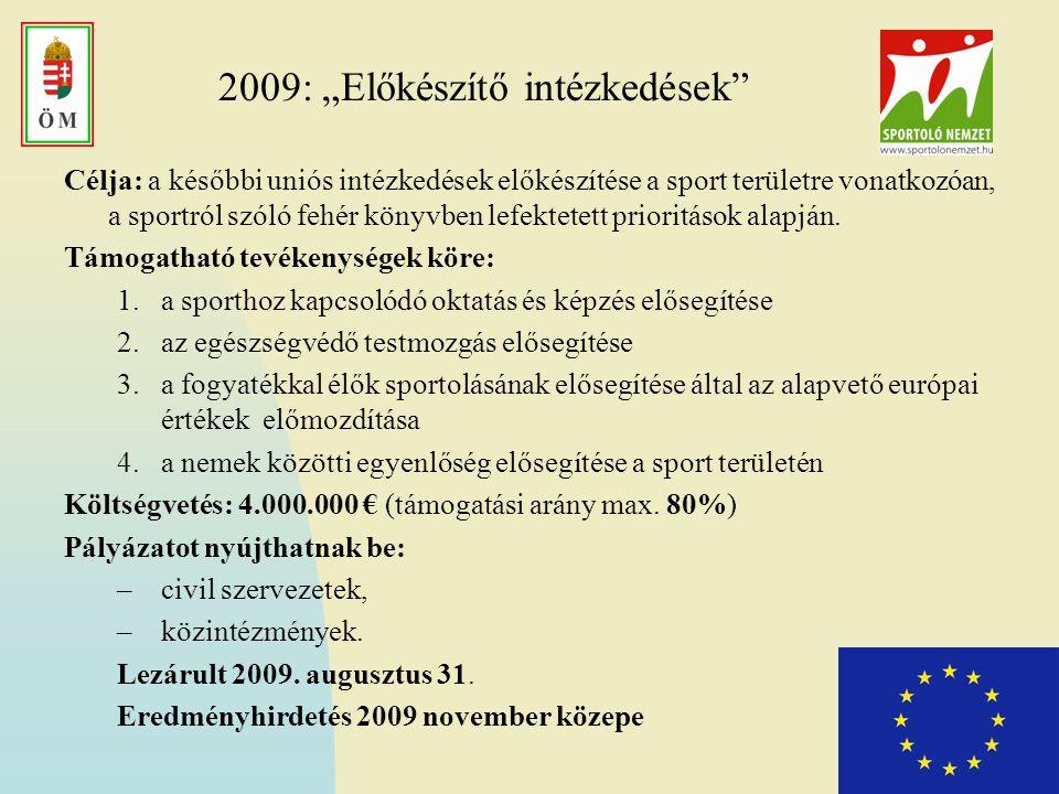 """2009: """"Előkészítő intézkedések Célja: a későbbi uniós intézkedések előkészítése a sport területre vonatkozóan, a sportról szóló fehér könyvben lefektetett prioritások alapján."""