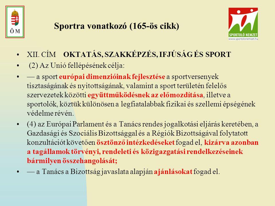 """2 EU-s dokumentum Fehér Könyv http://ec.europa.eu/sport/white-paper/doc/wp_on_sport_hu.pdf 2007 Az első hivatalos dokumentum – de nem bír kötelező erővel –A cselekvés irányait, témáit jelöli ki –Kutatások, konferenciák """"EU Fizikai aktivitás alapelvek A munkacsoportban Magyarország is képviseltette magát."""