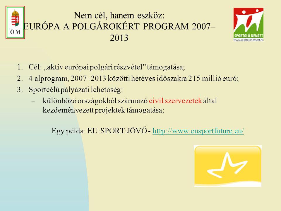 """Nem cél, hanem eszköz: EURÓPA A POLGÁROKÉRT PROGRAM 2007– 2013 1.Cél: """"aktív európai polgári részvétel támogatása; 2.4 alprogram, 2007–2013 közötti hétéves időszakra 215 millió euró; 3.Sportcélú pályázati lehetőség: –különböző országokból származó civil szervezetek által kezdeményezett projektek támogatása; Egy példa: EU:SPORT:JÖVŐ - http://www.eusportfuture.eu/http://www.eusportfuture.eu/"""