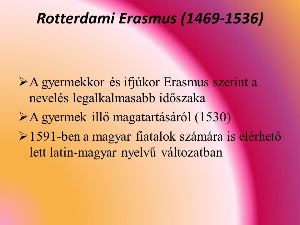  A gyermekkor és ifjúkor Erasmus szerint a nevelés legalkalmasabb időszaka  A gyermek illő magatartásáról (1530)  1591-ben a magyar fiatalok számára is elérhető lett latin-magyar nyelvű változatban Rotterdami Erasmus (1469-1536)