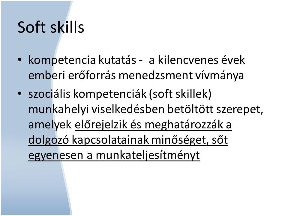 kompetencia kutatás - a kilencvenes évek emberi erőforrás menedzsment vívmánya szociális kompetenciák (soft skillek) munkahelyi viselkedésben betöltöt