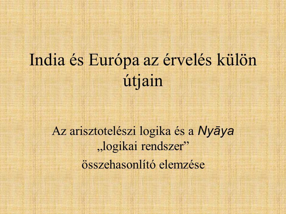 Összehasonlításunk célja Az Organon összevetése a Nyāya-sūtrá val.